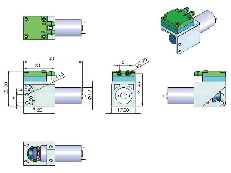 CX Miniature Diaphragm Pump - CX-1 - Drawing View1