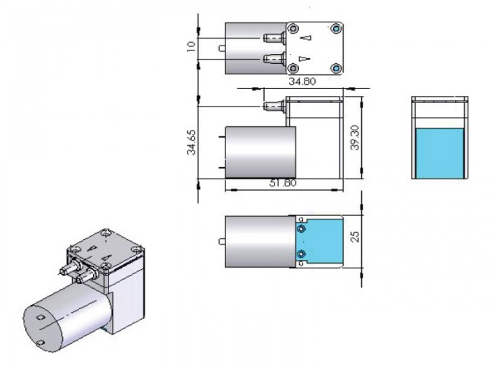 CX Miniature Diaphragm Pump - CX-2 - Drawing View1