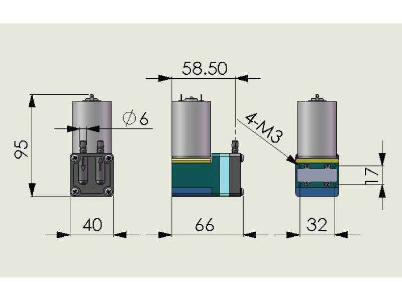CX Miniature Diaphragm Pump - CX-4 - Drawing View1
