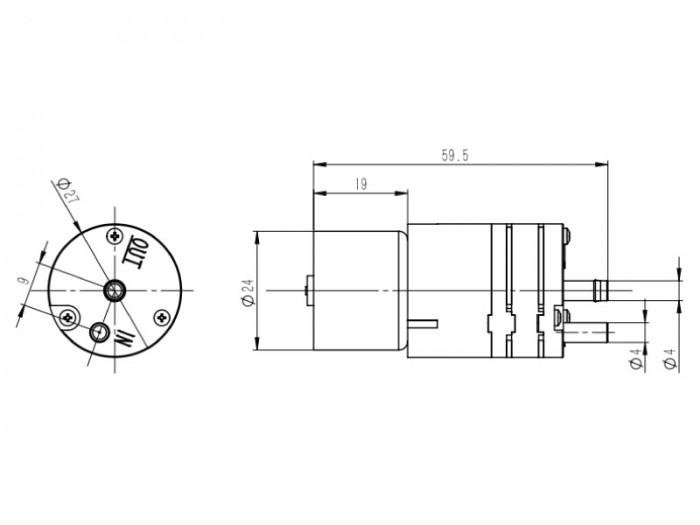 CX Miniature Diaphragm Pump - CX-5 - Drawing View1