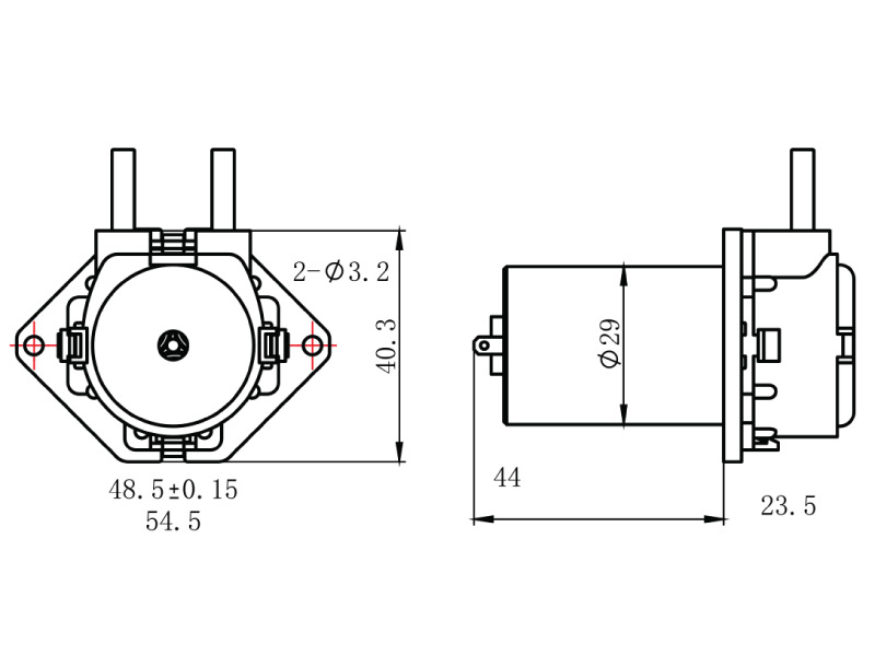 Peristaltic Pump - PP-2 - Drawing View1